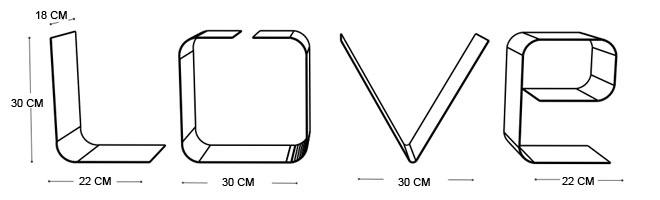 Disegno tecnico mensola LOVE | Mipiacemolto