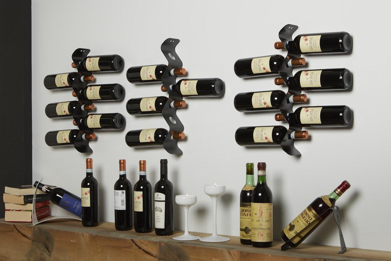 Moderno Portabottiglie Vino Da Parete Design.Portabottiglie Da Parete In Metallo Zig Zag Mipiacemolto