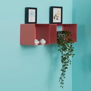 Mensole a cubo colore rosa in metallo con angoli arrotondati | Mipiacemolto