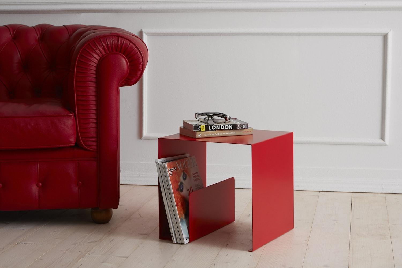 Divano Rosso E Grigio tavolino di design quadrato cubik