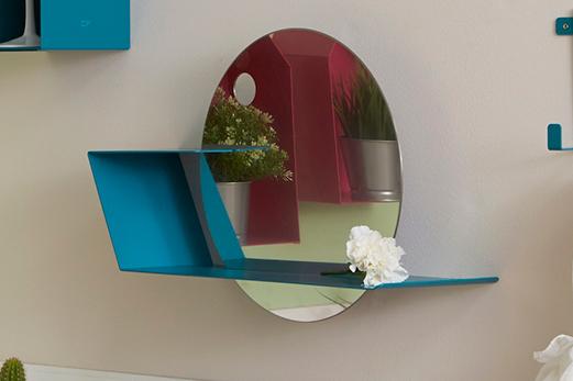 LIME Specchio circolare con mensola colorata | Mipiacemolto